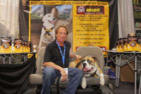Carl Goldberg of Ruff Rider Technologies with Max and the Roadie safety dog harness